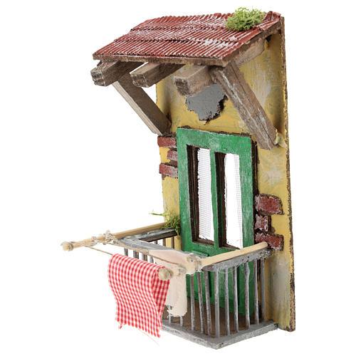 Balcone con tettoia per presepe napoletano di 12 cm 2