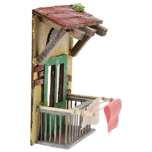 Balcone con tettoia per presepe napoletano di 12 cm 3