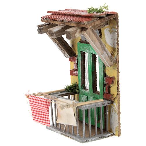Balcón con ropa para belén napolitano de 10 cm 2