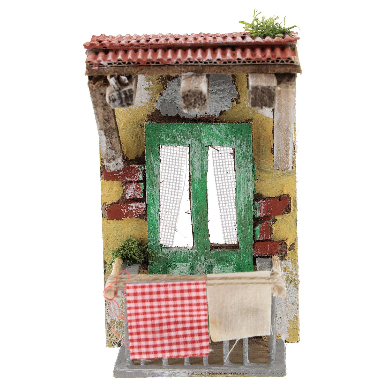 Miniature balcony with clothesline, for 10 cm Neapolitan nativity 4