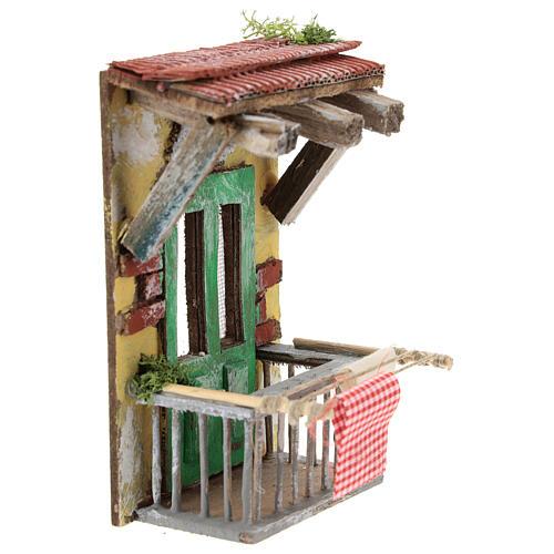 Miniature balcony with clothesline, for 10 cm Neapolitan nativity 3