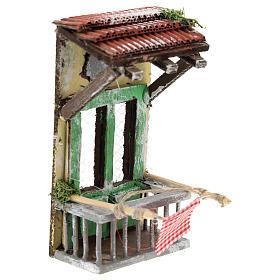 Balconcino con tettoia per presepe napoletano di 6-8 cm s3