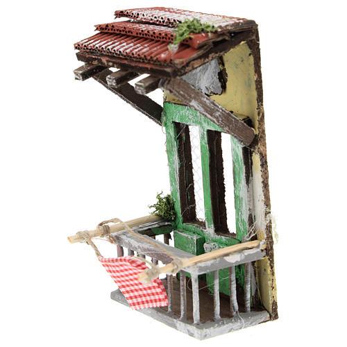 Balconcino con tettoia per presepe napoletano di 6-8 cm 2