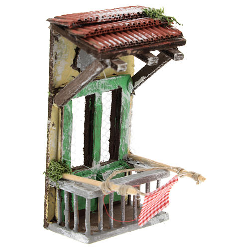 Balconcino con tettoia per presepe napoletano di 6-8 cm 3