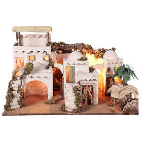 Arab-style village with curtain for 10-12 cm Neapolitan Nativity scene s1