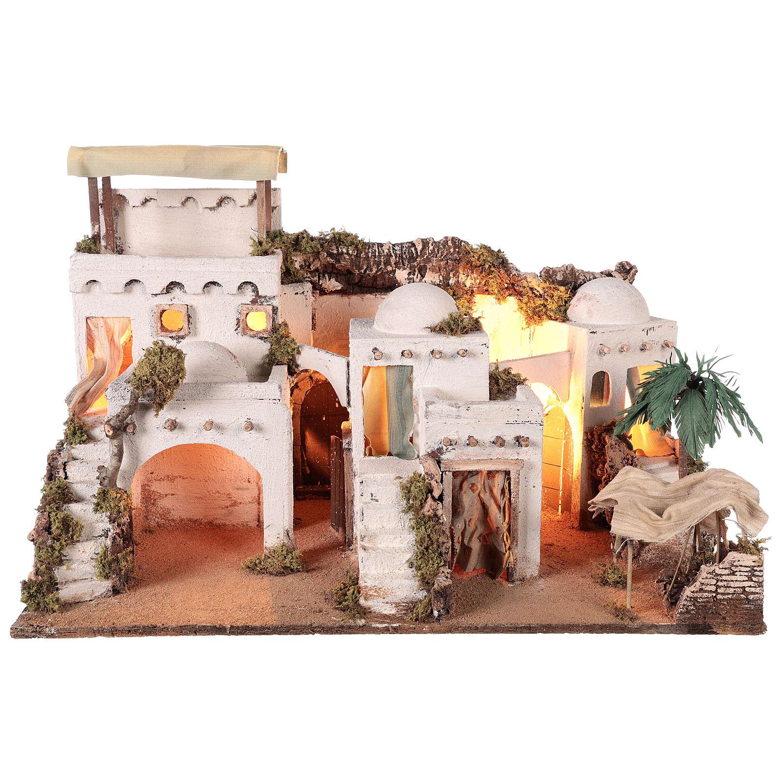 Pueblo en estilo árabe con cortina para belén napolitano de 10-12 cm 4