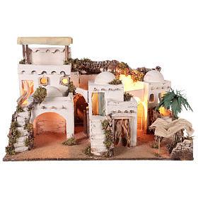 Pueblo en estilo árabe con cortina para belén napolitano de 10-12 cm s1