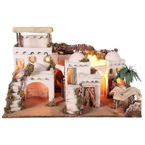Pueblo en estilo árabe con cortina para belén napolitano de 10-12 cm 1