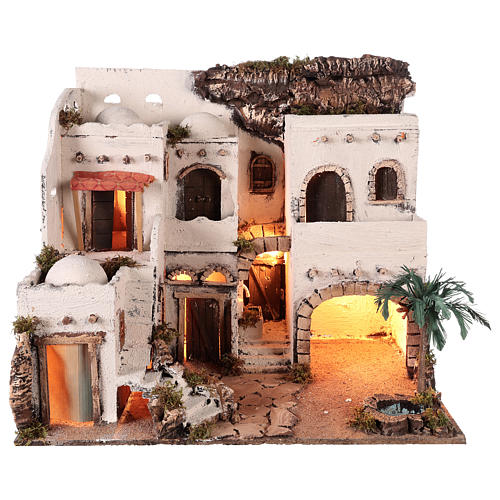 Borgo in stile arabo con oasi per presepe napoletano di 10 cm 1