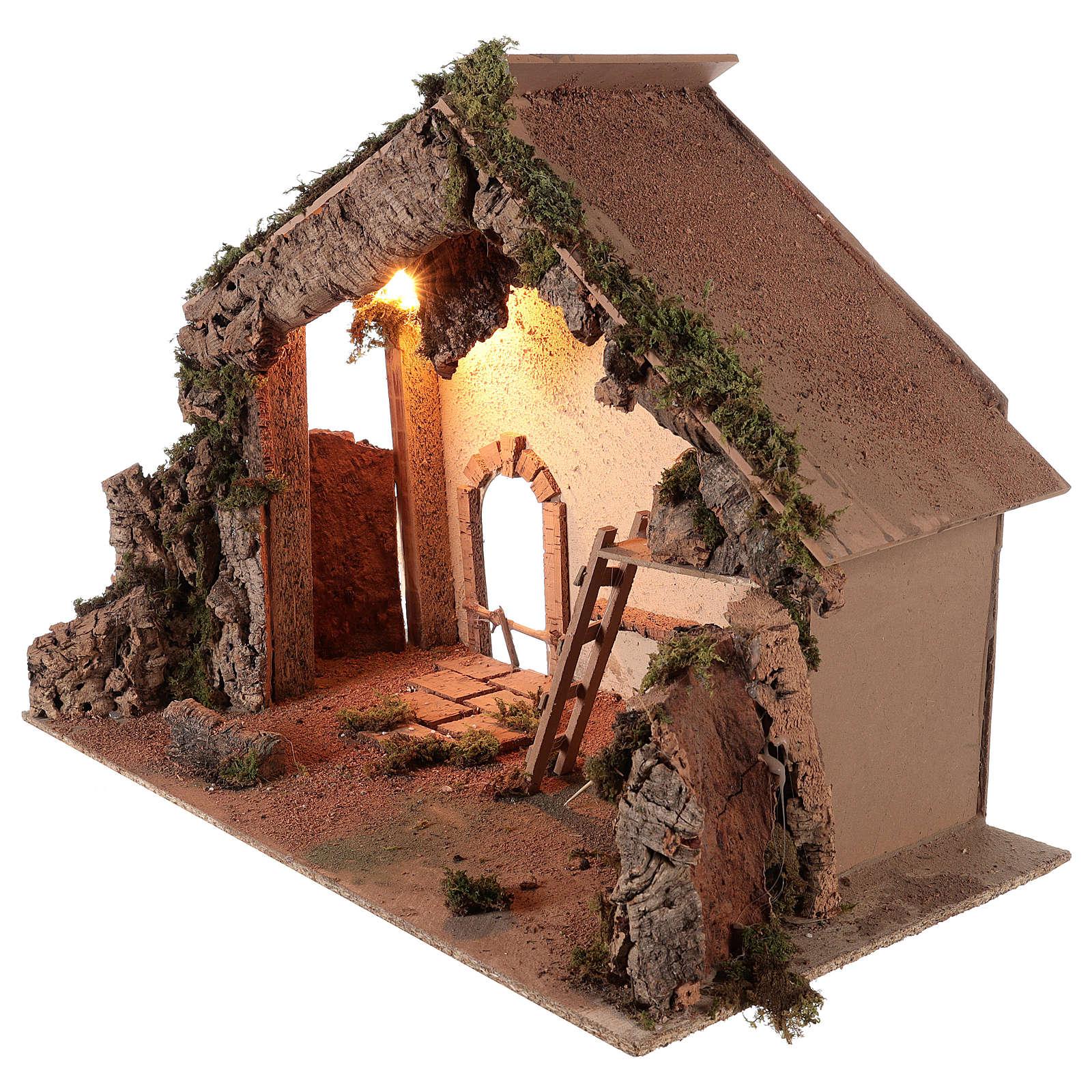 Shack setting for 12-16 cm Neapolitan Nativity scene 55x70x40 cm 4