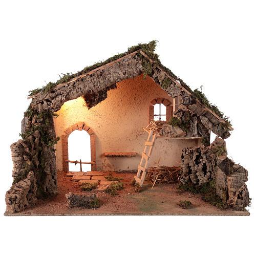 Shack setting for 12-16 cm Neapolitan Nativity scene 55x70x40 cm 1