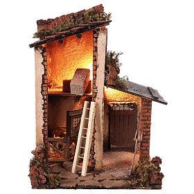 Building with goats for 10 cm Neapolitan Nativity scene s1