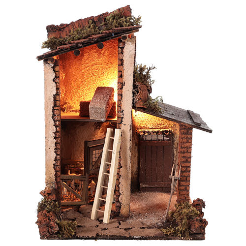 Building with goats for 10 cm Neapolitan Nativity scene 1