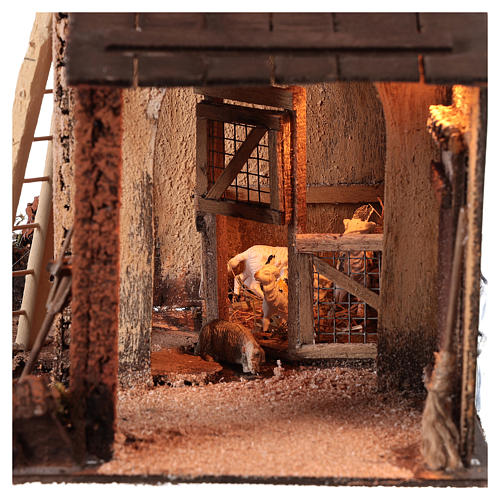 Building with goats for 10 cm Neapolitan Nativity scene 2