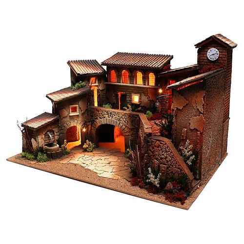 Borgo con luci e fontana per presepe di 6 cm 2