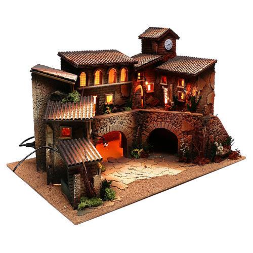 Borgo con luci e fontana per presepe di 6 cm 3