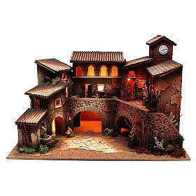 Ambientações para Presépio: lojas, casas, poços: Aldeia com luzes e fontanário para presépio com figuras de 6 cm de altura média