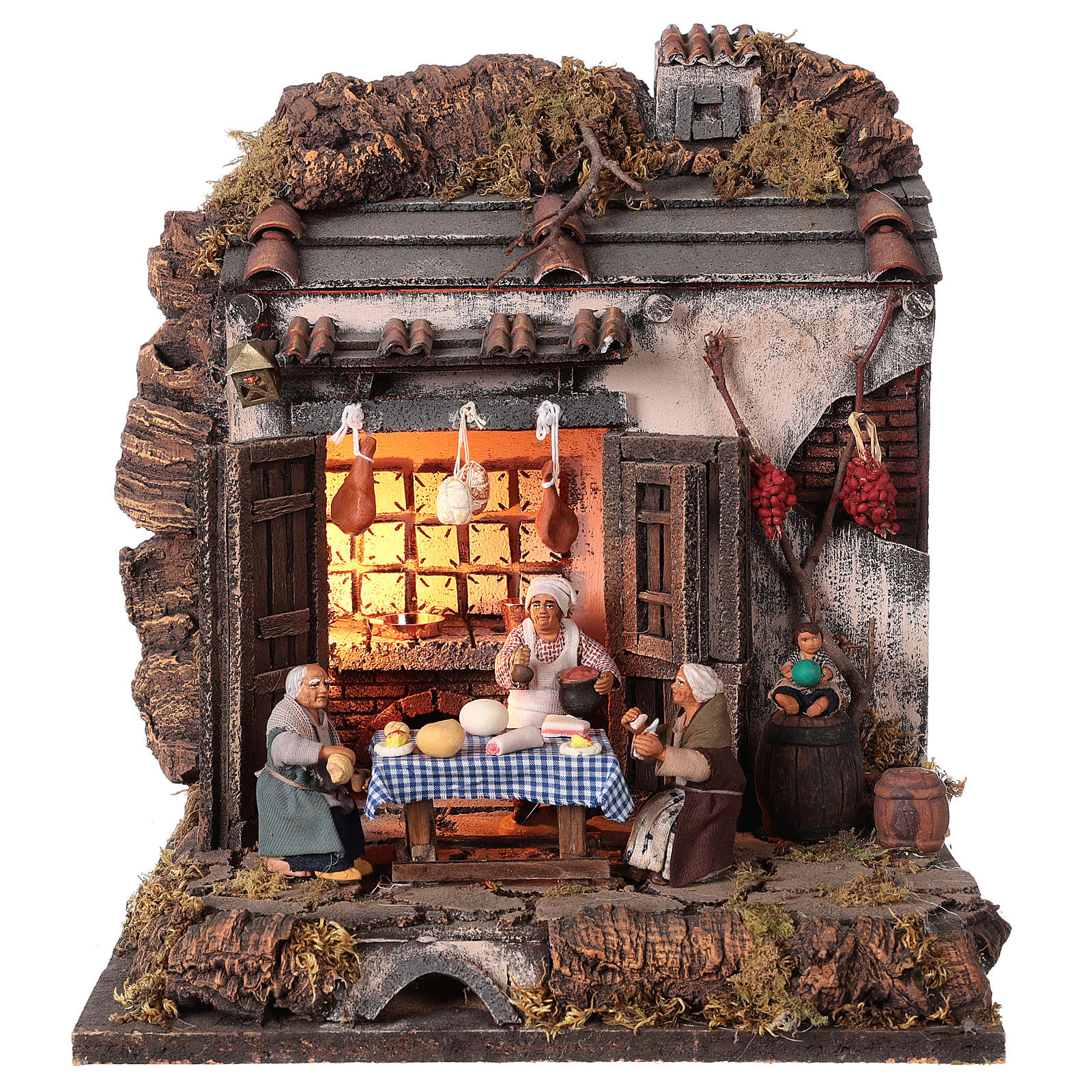 Tavern with 10 cm Nativity scene characters 4