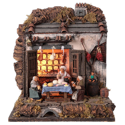 Tavern with 10 cm Nativity scene characters 1