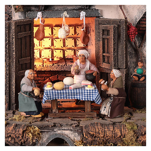 Tavern with 10 cm Nativity scene characters 2