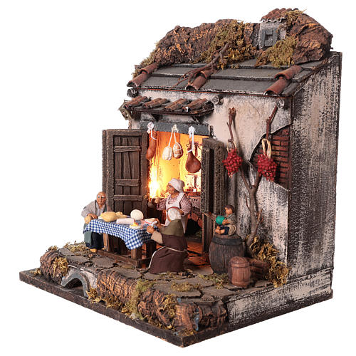Tavern with 10 cm Nativity scene characters 3