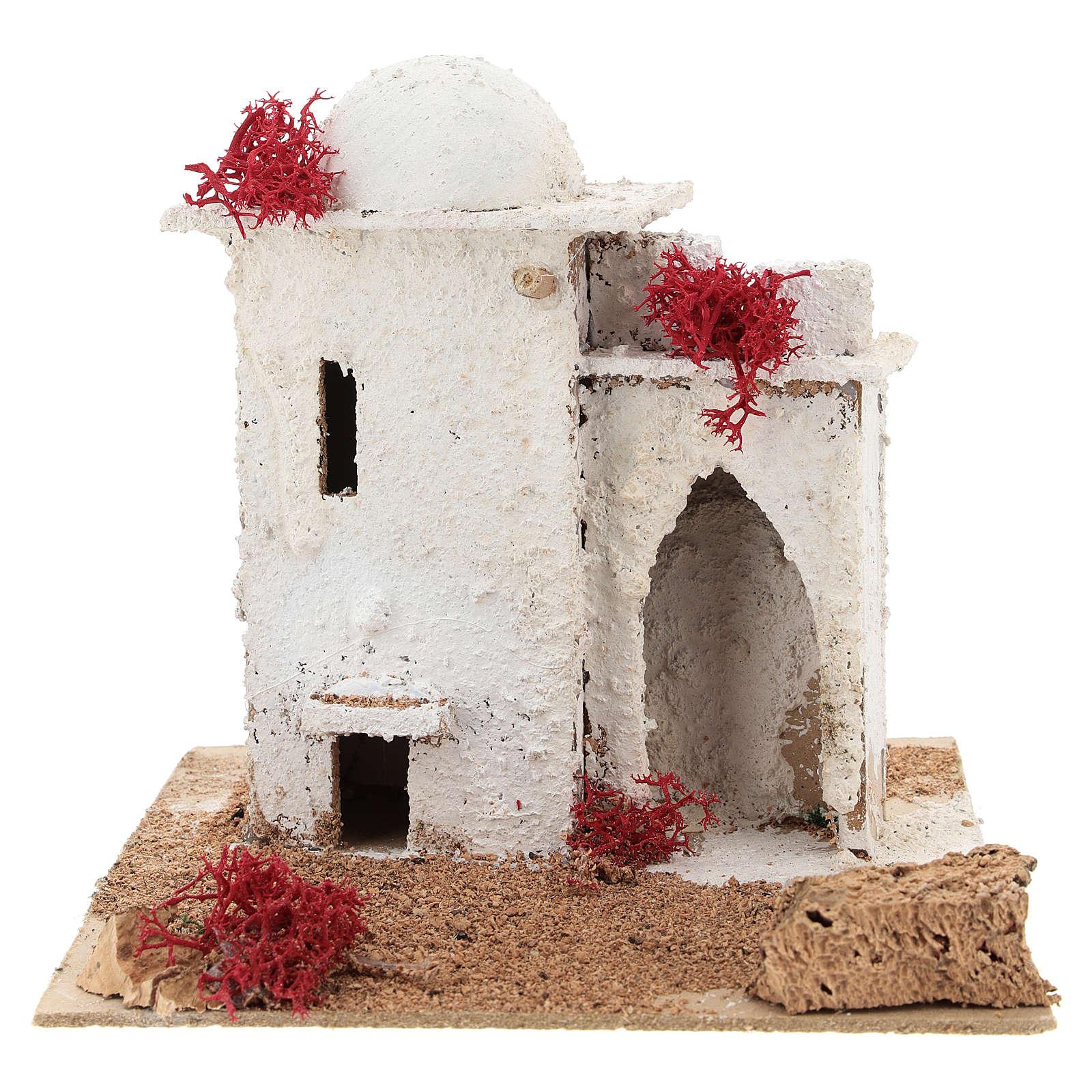 Casa in stile arabo con porta ad arco acuto per presepe napoletano di 6 cm 4