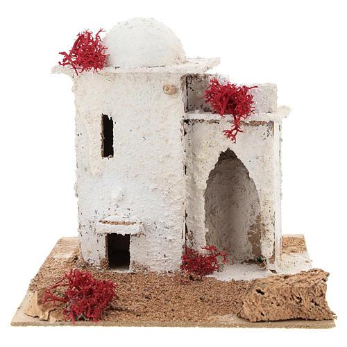 Casa in stile arabo con porta ad arco acuto per presepe napoletano di 6 cm 1