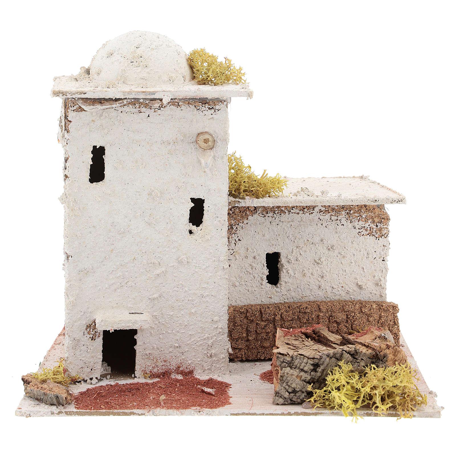 Casa in stile arabo con staccionata per presepe napoletano di 6 cm 4