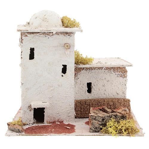 Casa in stile arabo con staccionata per presepe napoletano di 6 cm 1
