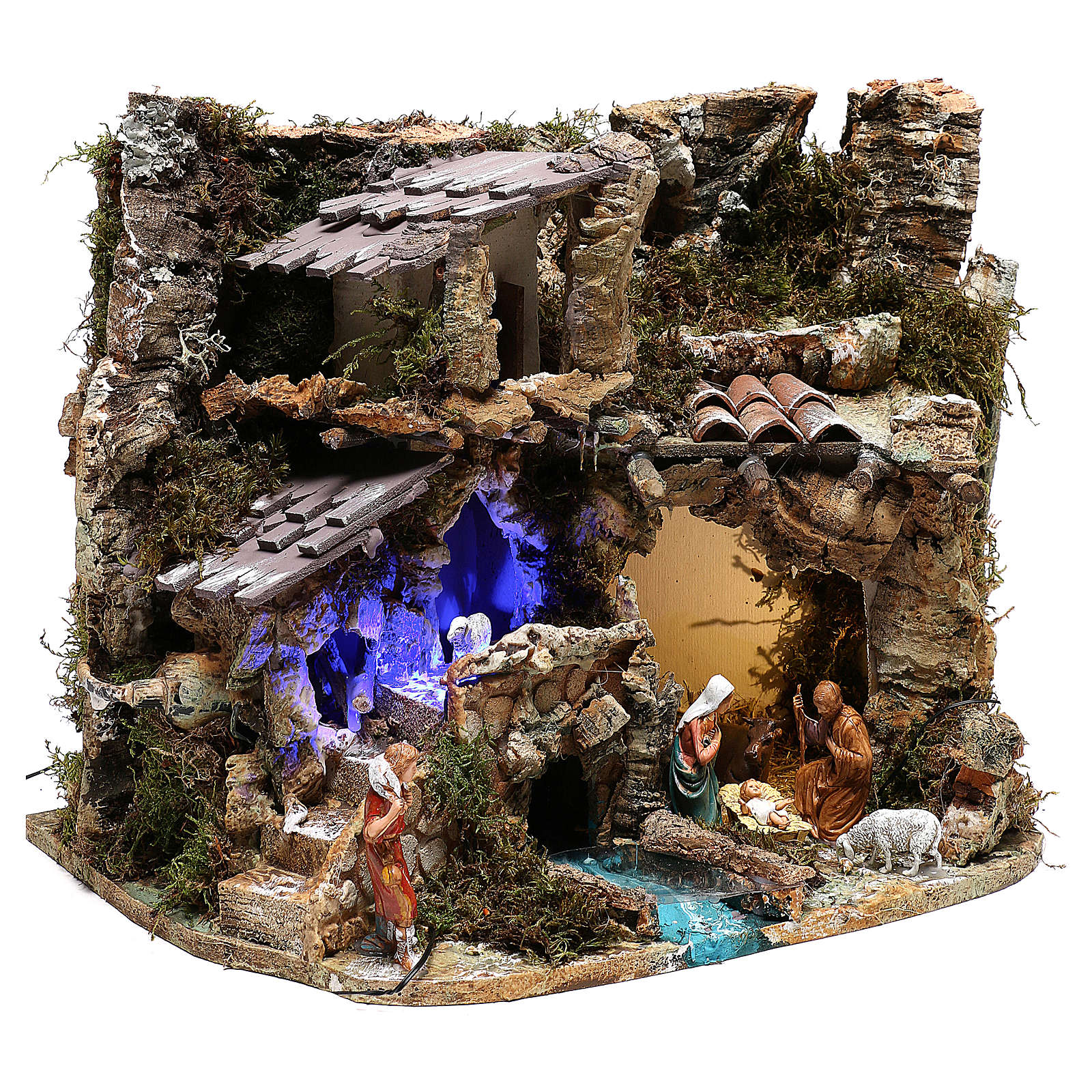 Landscape with cave and Holy Family, with night light effect 30x35x25 cm 4