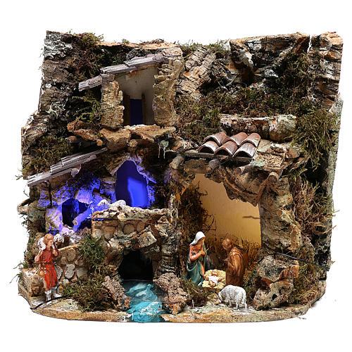 Paysage grotte et Nativité lumière effet nocturne 30x35x25 cm 1