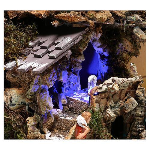 Paysage grotte et Nativité lumière effet nocturne 30x35x25 cm 4