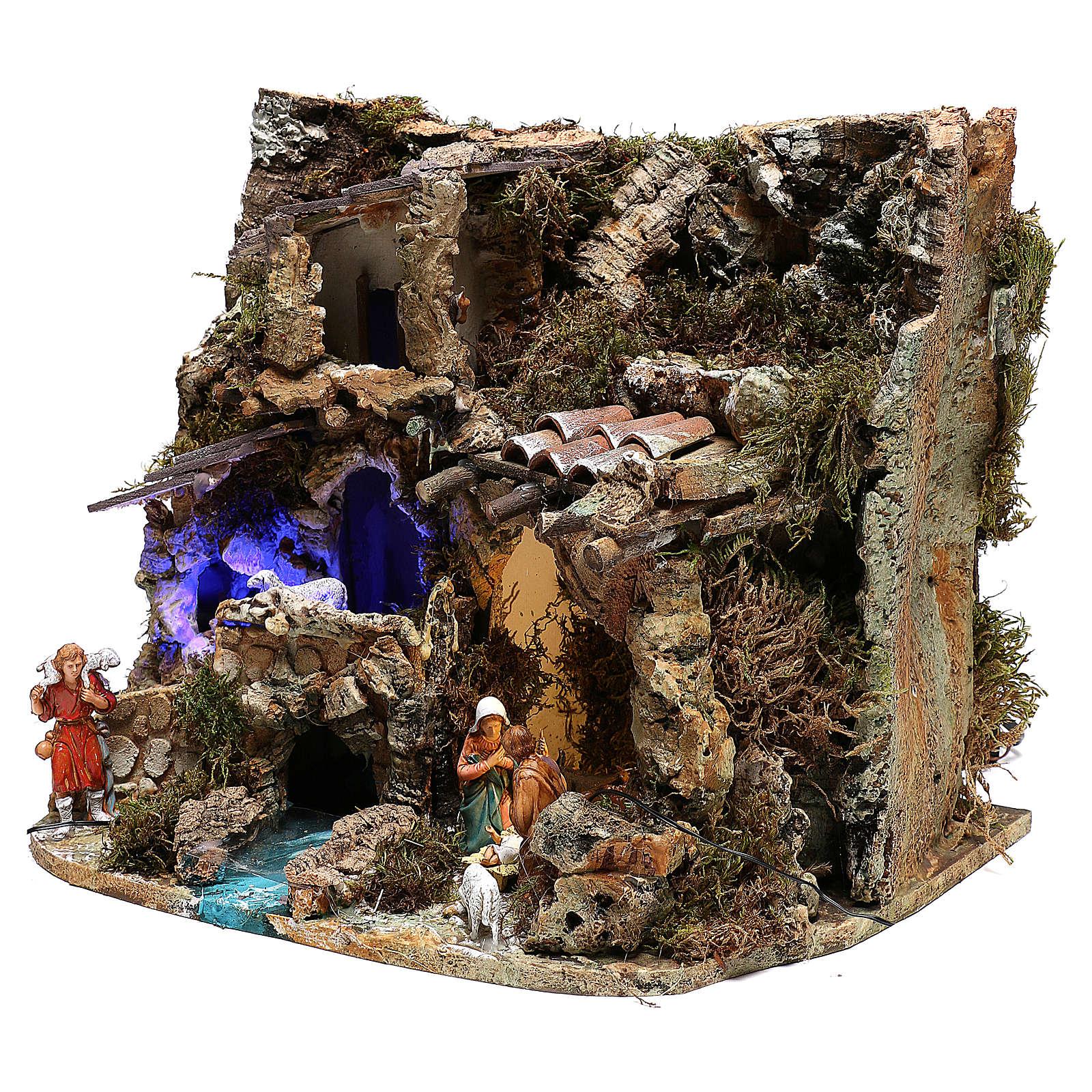 Paesaggio grotta e Natività luce effetto notturno 30x35x25 cm 4