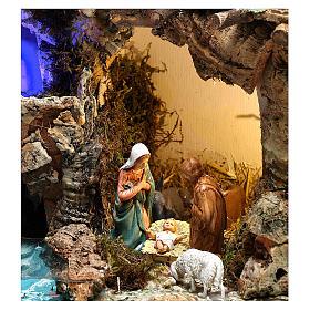 Paesaggio grotta e Natività luce effetto notturno 30x35x25 cm s2