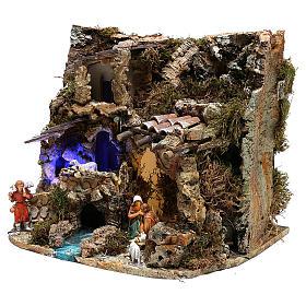 Paesaggio grotta e Natività luce effetto notturno 30x35x25 cm s3