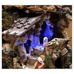 Paesaggio grotta e Natività luce effetto notturno 30x35x25 cm s4