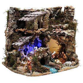 Paesaggio grotta e Natività luce effetto notturno 30x35x25 cm s5
