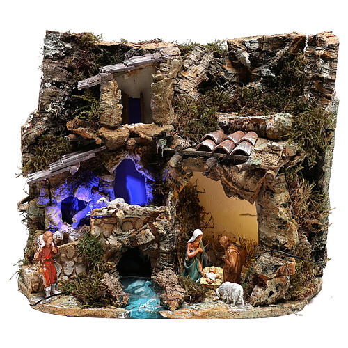 Paesaggio grotta e Natività luce effetto notturno 30x35x25 cm 1