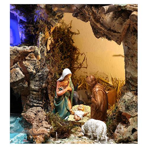 Paesaggio grotta e Natività luce effetto notturno 30x35x25 cm 2