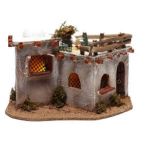 Arabic village with terrace with lights for Nativity Scene 15x25x15 cm s1