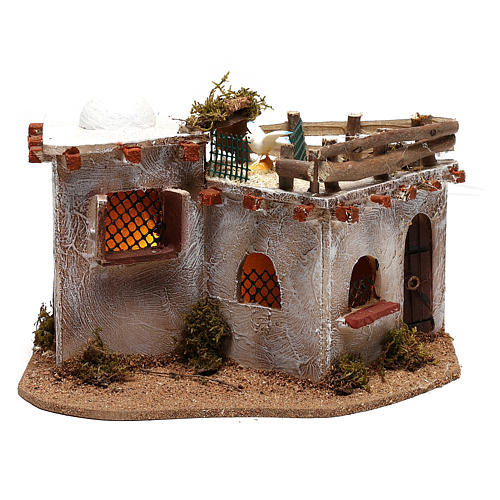 Arabic village with terrace with lights for Nativity Scene 15x25x15 cm 1