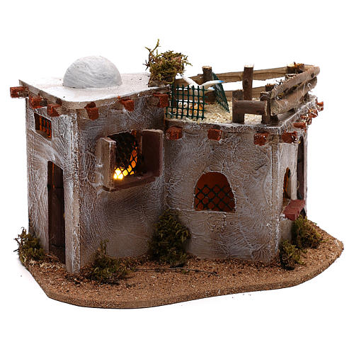Arabic village with terrace with lights for Nativity Scene 15x25x15 cm 3