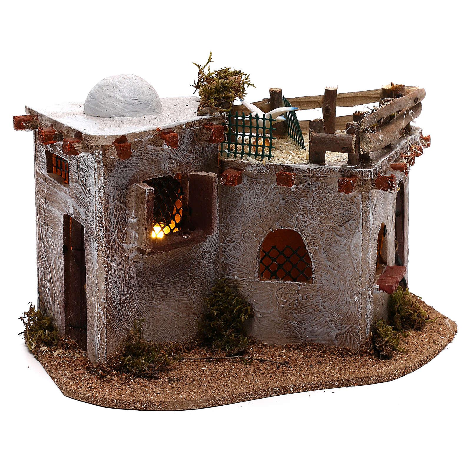 Village arabe avec terrasse sur le toit pour crèche avec lumières 15x25x15 cm 4