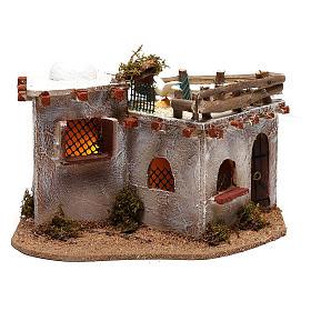 Village arabe avec terrasse sur le toit pour crèche avec lumières 15x25x15 cm s1