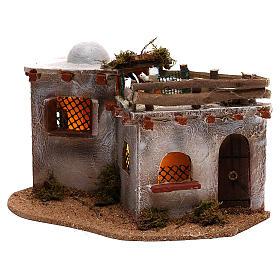 Village arabe avec terrasse sur le toit pour crèche avec lumières 15x25x15 cm s2