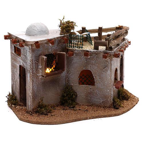 Village arabe avec terrasse sur le toit pour crèche avec lumières 15x25x15 cm 3