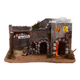 Inn for Arabic style Nativity scene with lights 15x30x15 cm s1