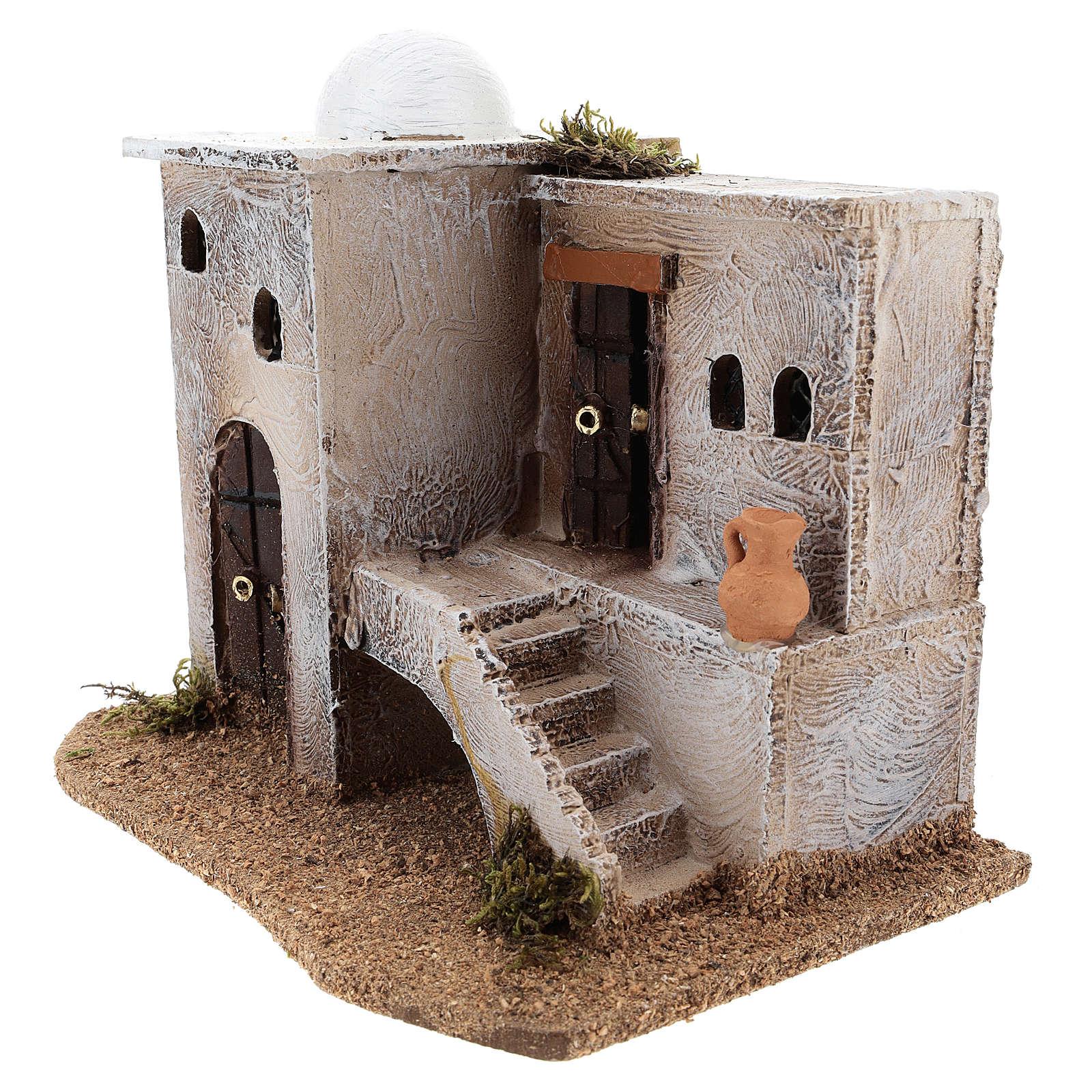 Casa para belén en estilo árabe con escaleras 15x20x15 cm 4