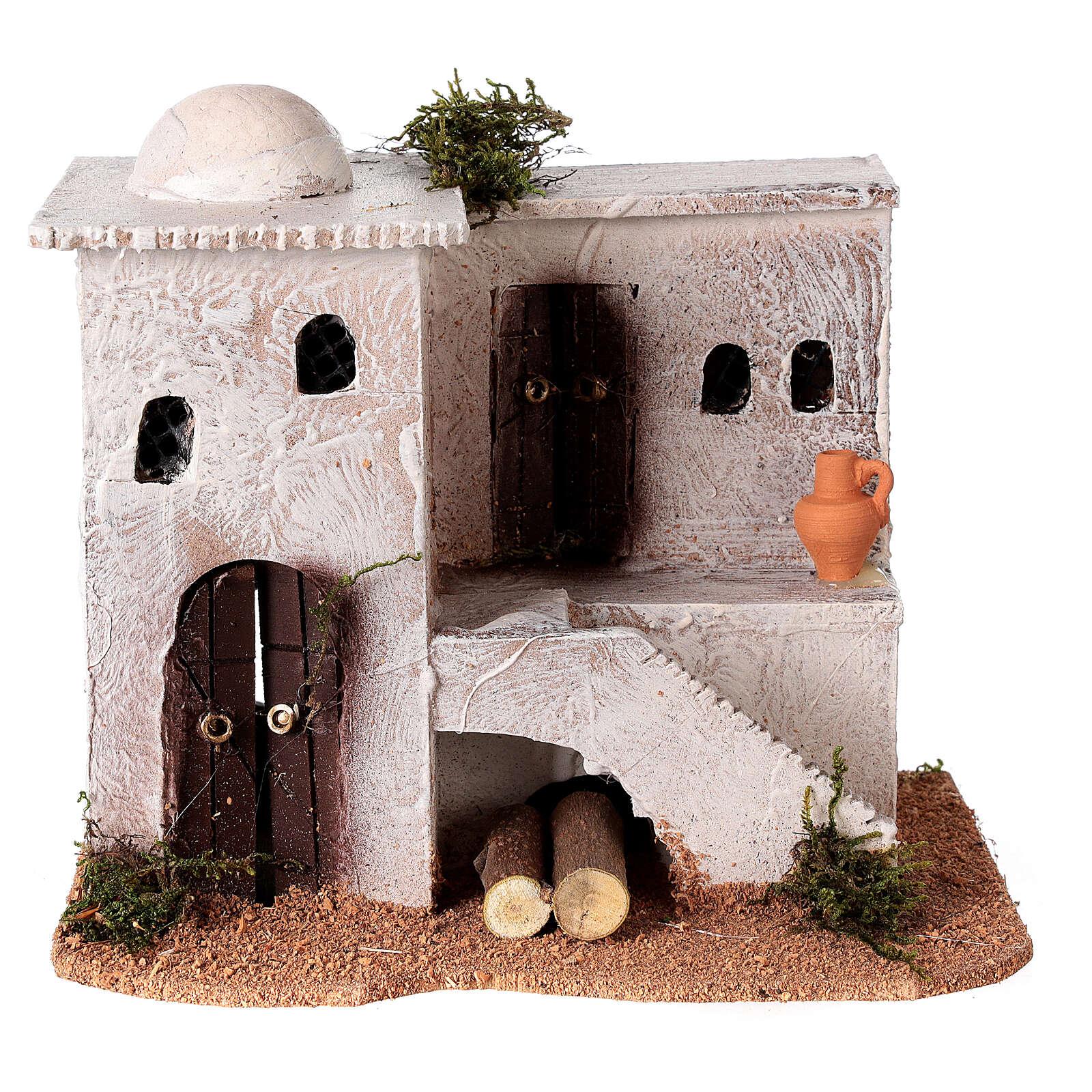 Casa per presepe in stile arabo con scale 15x20x15 cm 4