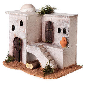 Casa per presepe in stile arabo con scale 15x20x15 cm s3